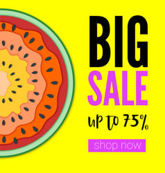 Big sale bright banner with half past of vector