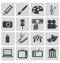 black art icons set vector image