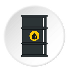 Black oil barrel icon circle vector