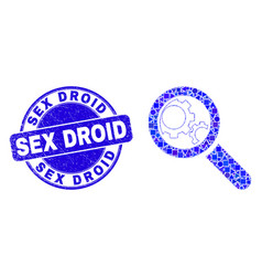 Blue scratched sex droid seal and explore gears vector