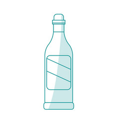 Blue silhouette shading cartoon glass bottle of vector