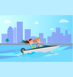 boating activity in summer vector image