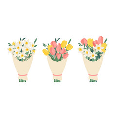 Bouquet collection set with spring flowers tulips vector