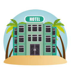 Building hotel in the beach vector