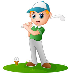 Cartoon boy playing golf vector