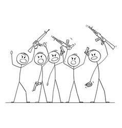 cartoon group soldiers or armed people with vector image