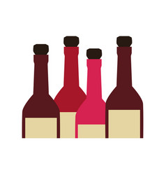 Color silhouette with set of liquor bottles vector