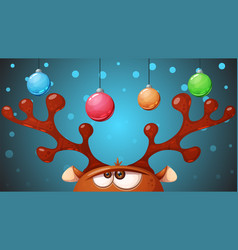 crazy cute deer merry christmas happy new year vector image