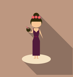 cute cartoon girl enjoying coconut drink on the vector image
