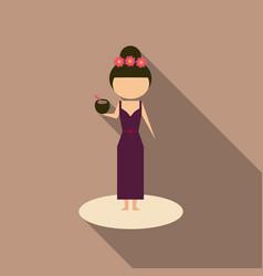 Cute cartoon girl enjoying coconut drink vector