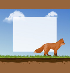cute fox frame for photos and pictures banner vector image