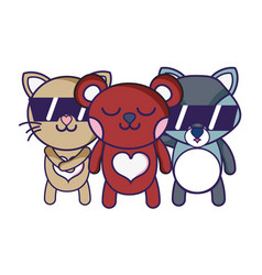 Cute happy animals friends togethers vector