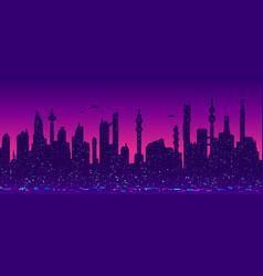 cyberpunk futuristic cityscape silhouette vector image