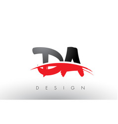 Da d a brush logo letters with red and black vector