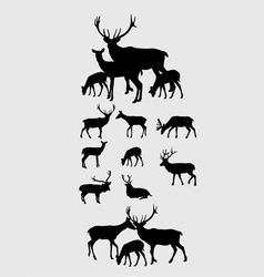 Deer Set Silhouettes vector