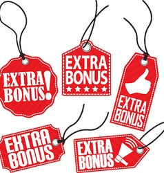 Extra bonus red tag set vector