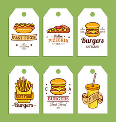 Fast food tags burgers hot dogs fry vector