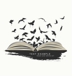 Flying birds from open book painted in grunge vector