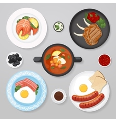 Food business flat lay idea vector image