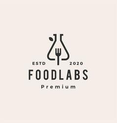 food lab labs fork hipster vintage logo icon vector image