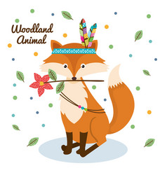 fox woodland animal with feather crown vector image