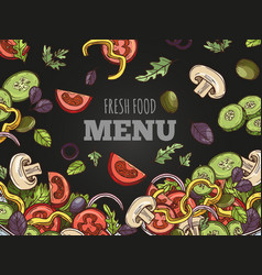fresh food menu cover template hand vector image