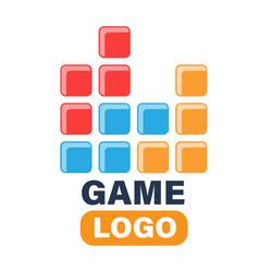 Game logo game tetris pixel bricks image vector