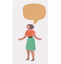 girl with empty speech bubble on white background vector image