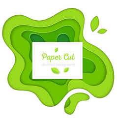 green abstract poster - paper cut vector image