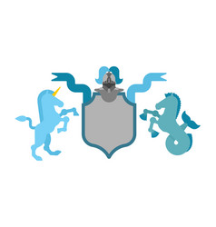 Heraldic shield unicorn and hippocampus and vector