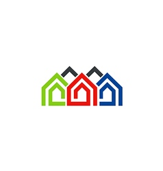 Houses line abstract symbol logo vector