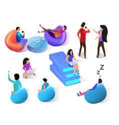 human communication flat isometric set on white vector image