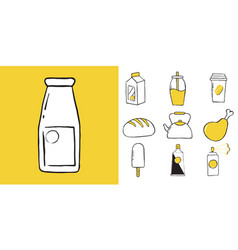 icon set of household items food and drinks vector image
