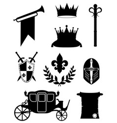 King royal golden attributes of medieval power vector