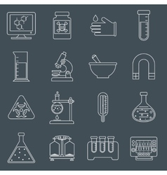 Laboratory equipment icons outline vector