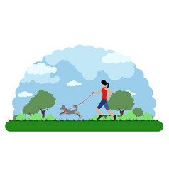 landscape of a park with a girl running with her vector image