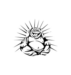 Laughing Bulldog Buddha Sitting Black and White vector