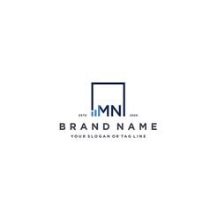 Letter mn square logo finance design vector