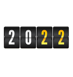 mechanical scoreboard with numbers 2022 realistic vector image