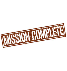 Mission complete square grunge stamp vector