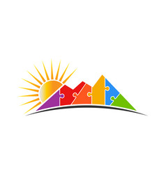 Mountain puzzle with sun logo vector