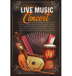 Music concert poster of sketch instruments vector