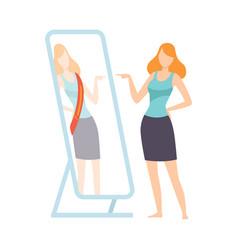 narcissistic woman character looking at mirror vector image