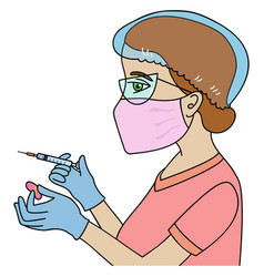 nurse holding a syringe and an adhesive bandage vector image