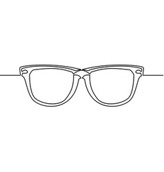 one line drawing of isolated eye glasses vector image