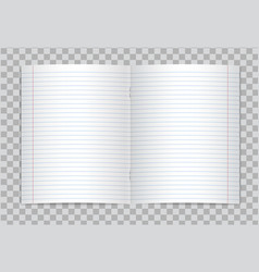 Opened lined elementary school copybook vector