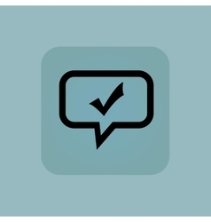 Pale blue tick mark message vector