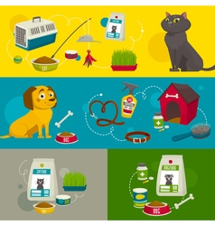 Pet care object compositions cartoon cat dog food vector image vector image