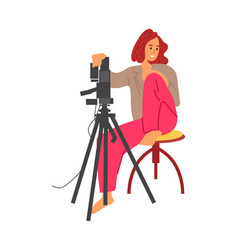 Photographer cartoon woman with professional vector