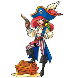 pirate girl vector image